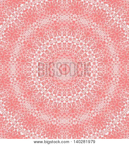 Abstract geometric seamless background. Delicate laces pattern, concentric circle ornament white and pink on pastel red.