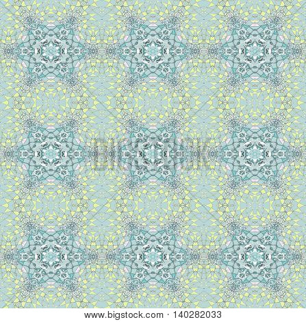 Abstract geometric seamless background. Delicate regular stars pattern turquoise, yellow and pink on light gray, ornate and extensive.