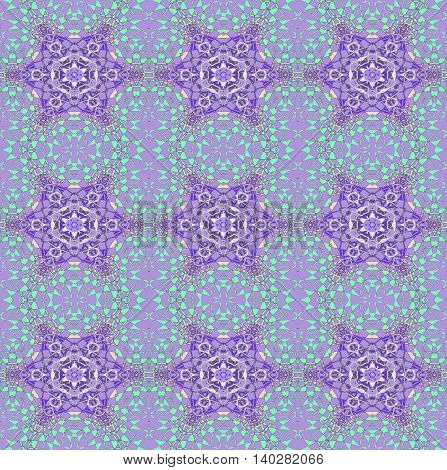 Abstract geometric seamless background. Delicate regular stars pattern purple and mint green on light purple, ornate and dreamy.