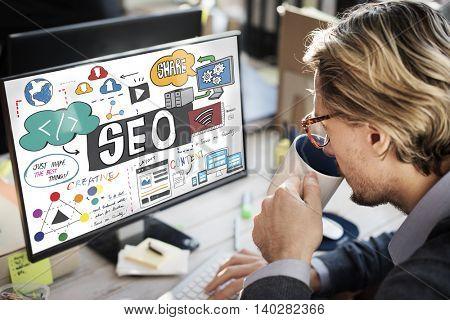 SEO Search Engine Optimization Internet Data Concept