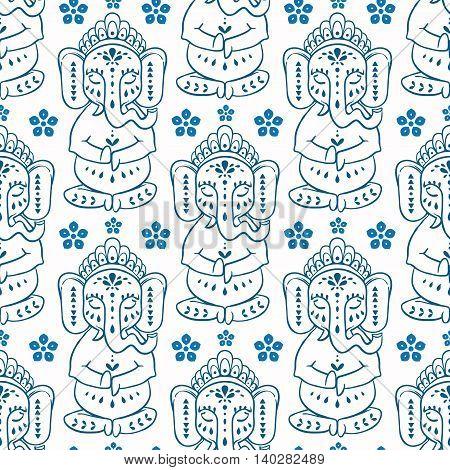 Pattern ith elephant Ganesha Hindu god. Ornament background. Illustration for prints dress, coloring book. Happy Birthday Chaturthi