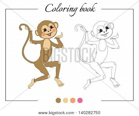 Coloring book with funny monkey. Cartoon vector illustration for children education.