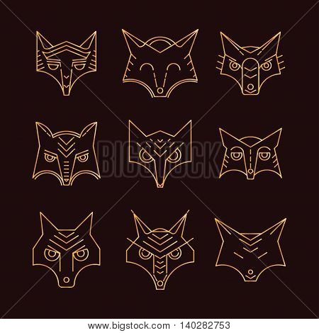Fox icon symbol. Set vector illustration. Fox head. Fox face, elements for design, print dress, a company logo, for websites, business card