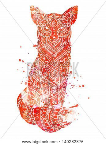 Ornament fox vector. Beautiful illustration fox for design, print clothing, stickers, tattoos, Adult Coloring book. Hand drawn animal illustration. Bohemian fox lace. Watercolor yellow