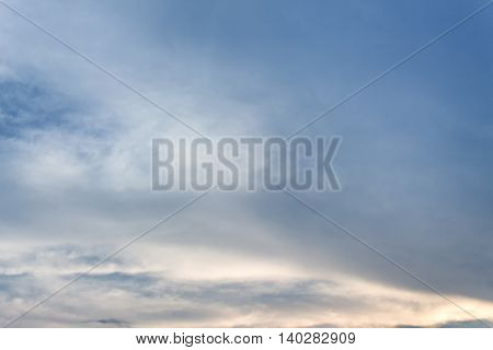 Dark blue sky.  sunset with  Soft focus due to long exposure shot. Nature composition