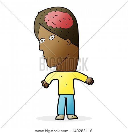 cartoon man with brain symbol