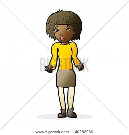 cartoon woman shrugging shoulders