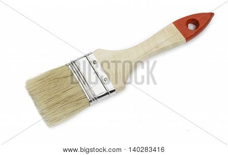 Paint brush isolated on white background, close-up.