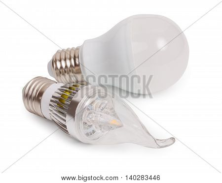 Set Of 2 Energy Saving Led Light-emitting Diode Bulbs, With Sockets Type E27 Isolated On A White Bac