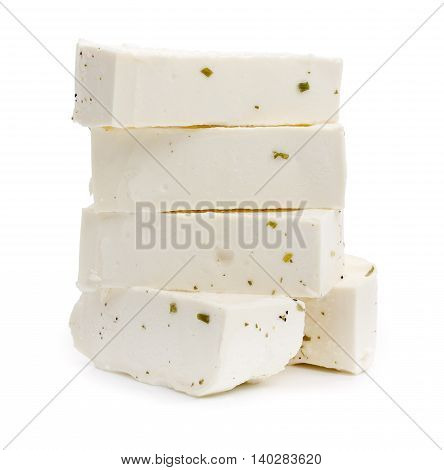 Slices Of Greek Feta Cheese With Greens Isolated On White Background.