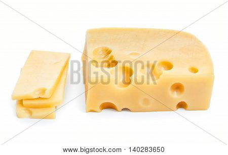 Piece Of Cheese And Slices Isolated On A White Background