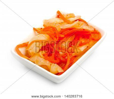 Kimchi (korean Food) In Rectangular Ramekin Close Up On White Background