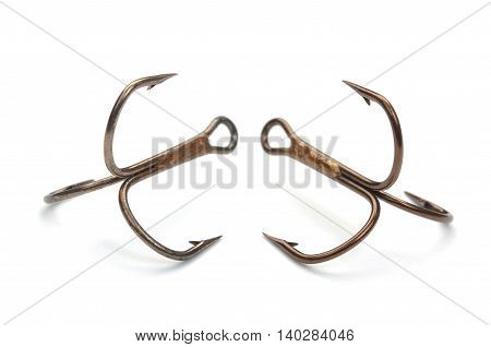 Pair Of Fishing Hooks Isolated On A White Background