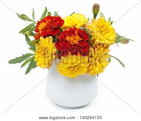 Dark Red Marigolds And Chrysanthemums In A Ceramic Vase, Flowerpot. Isolated On White Background, Cl