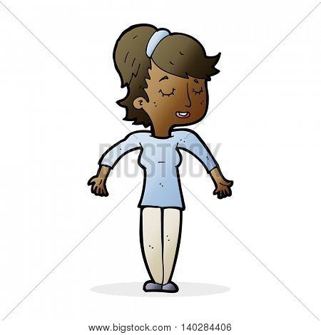 cartoon friendly woman shrugging shoulders