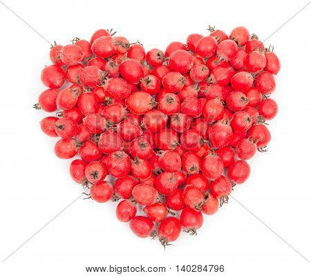 Heap of dog rose berries hips heart shaped. Isolated on white background close-up top view.