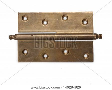 One bronze old door hinge. Isolated on white background.