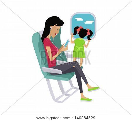 Flight travel concept vector. Flat design. Woman listening music while flight with her little daughter. Comfort traveling with child. Illustration for air companies, travel agencies ad.