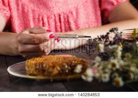 Natural Medicine, Herbs, Tea And Honey
