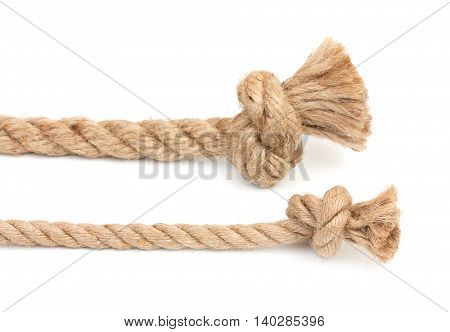 Pair Of Ropes Are Different Diameters With Knots Isolated On A White