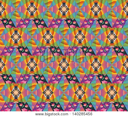 Seamless multicolor patchwork pattern. Bright vector illustration of quilt.