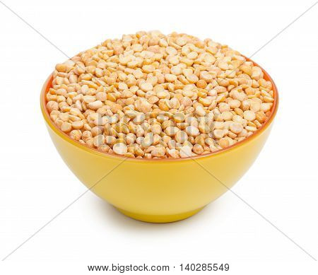 Orange And Yellow Colors Ceramic Bowl With Dried Peas Isolated On White Background
