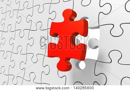 Missing red puzzle piece being inserted to solve a complex challenge, 3D rendering
