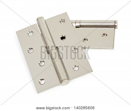 Pair Of Chrome Hinges Isolated On White