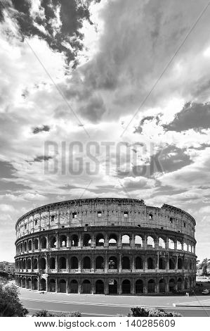 High contrast black and white of the ancient Roman Coliseum in Rome, Italy