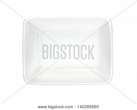 Rectangular Ramekin Isolated On A White Top View