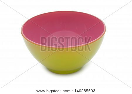 Raspberry And Lime Colors Ceramic Bowl Isolated On White Background