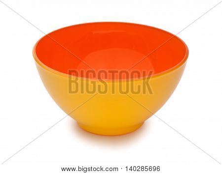 Orange And Yellow Colors Ceramic Bowl Isolated On White Background