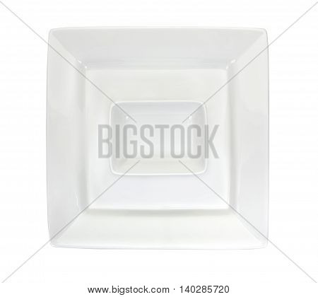 Rectangular Ramekin On A White Square Plate Top View