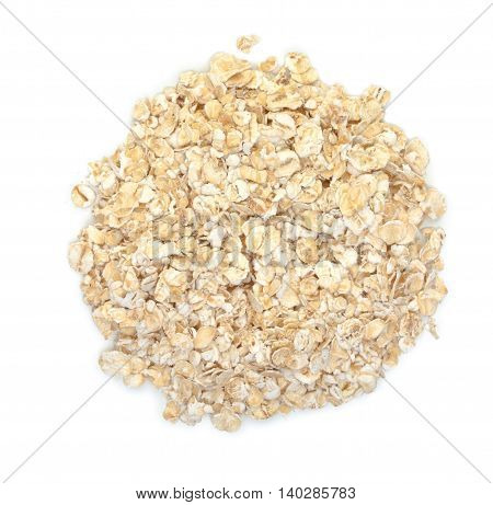 Rolled Oats Isolated On A White Background. Top View.