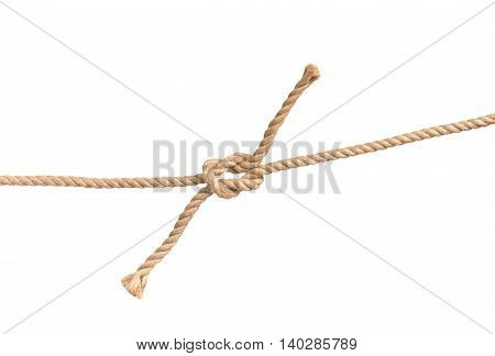 Decorative rope with the node isolated on white background, close-up.