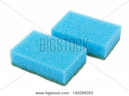 Pair Of Sponges For Washing And Cleaning Of Kitchen Ware Isolated On A White