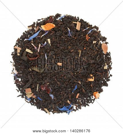 Black Tea With Pieces Of Dried Fruit And Hibiscus Flowers Isolated On White Top View