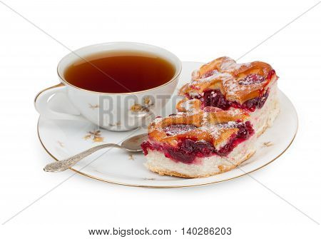 Two Pieces Of Homemade Cake With Cherries, Cherry Jam And A Cup Of Tea And Teaspoon On Plate. Isolat