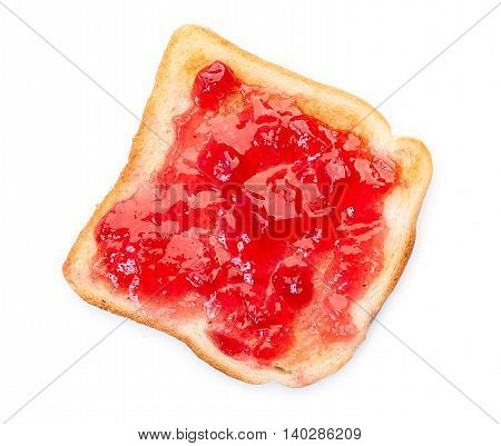 Toast With Jam, Isolated On A White Background.