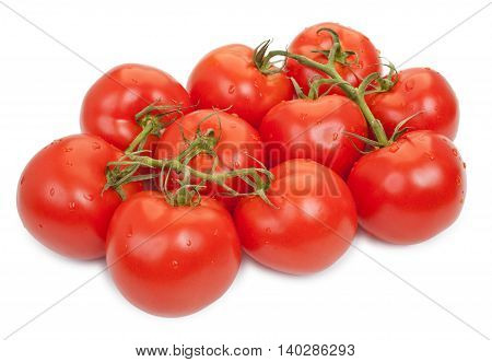Two Branches Of Red Tomatoes Isolated On White