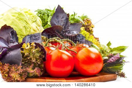 Fresh Organic Vegetables For Cooking Food On Wooden Cutting Board. Fresh Tomatoes, Cabbage, Lettuce,