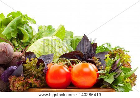 Fresh Organic Vegetables For Cooking Food On Wooden Cutting Board. Fresh Tomatoes, Cabbage, Beets, L