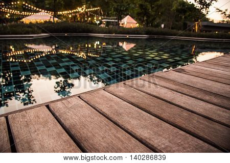 Wooden Pool Terrace In Evening Time