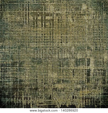 Old style decorative composition or designed vintage template with textured grunge elements and different color patterns: yellow (beige); brown; gray; black; green