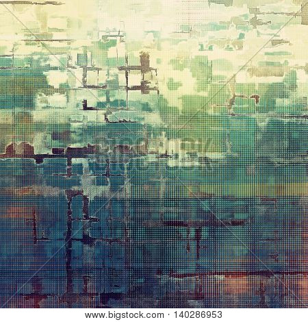 Oldest vintage background in grunge style. Ancient texture with different color patterns: yellow (beige); brown; green; blue; purple (violet); white