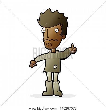 cartoon nervous man giving thumbs up symbol