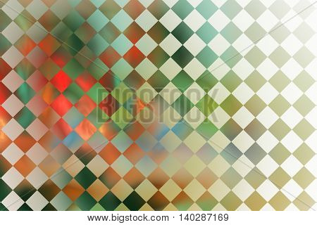 Abstract glowing checkered background. Fantasy fractal texture in green red brown and white colors. Digital art. 3D rendering.