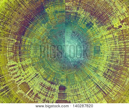 Spherical old crumpled grunge background or ancient texture. With different color patterns: yellow (beige); green; blue; purple (violet); cyan