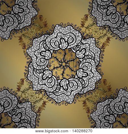 Abstract pattern on yellow gradient background with floral golden elements. Vector illustration. Pattern background.