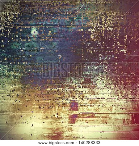 Ancient texture or damaged old style background with vintage grungy design elements and different color patterns: yellow (beige); brown; gray; green; blue; purple (violet)